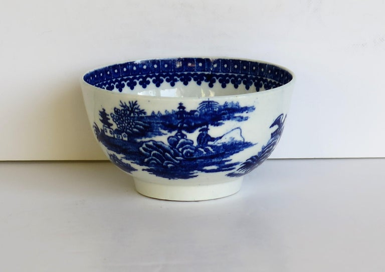 George III First Period Dr. Wall Worcester porcelain Blue Bowl in Fisherman Ptn, Circa 1775 For Sale