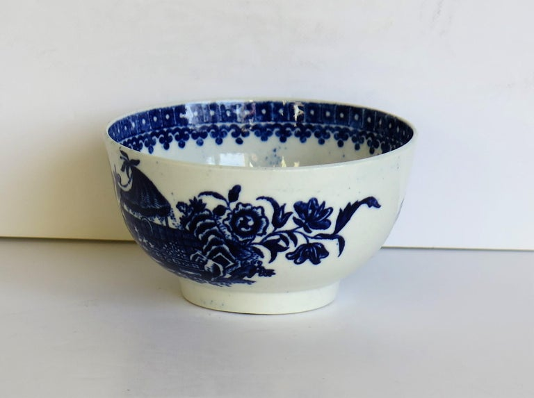 18th Century and Earlier First Period Dr. Wall Worcester porcelain Blue Bowl in Fisherman Ptn, Circa 1775 For Sale