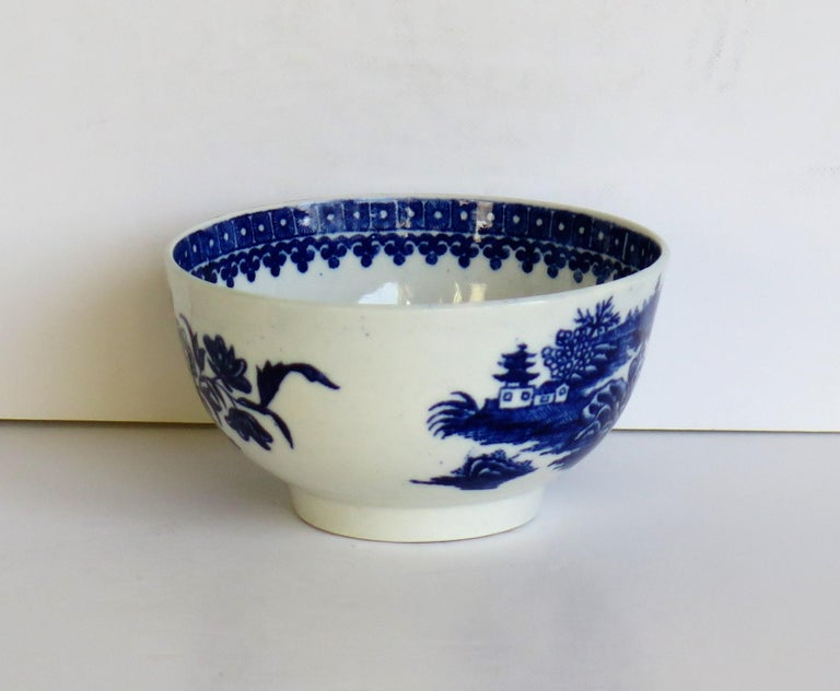 Porcelain First Period Dr. Wall Worcester porcelain Blue Bowl in Fisherman Ptn, Circa 1775 For Sale