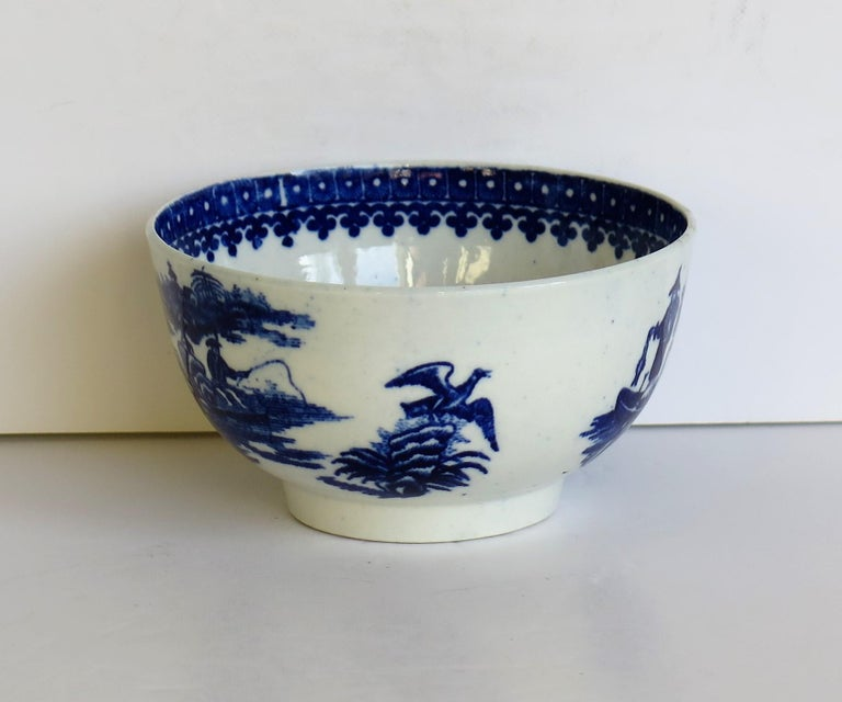 First Period Dr. Wall Worcester porcelain Blue Bowl in Fisherman Ptn, Circa 1775 For Sale 1