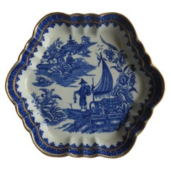 First Period Dr. Wall Worcester Porcelain Teapot Stand Fisherman Ptn, Circa 1775