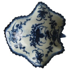 First Period Worcester Blue and White Pickle Leaf Dish in Floral Pattern ca 1770