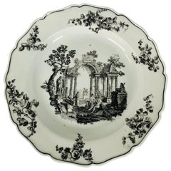 First Period Worcester Dish 18th Century Showing Scholars in Ancient Ruins