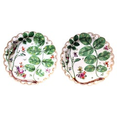 First Period Worcester Pair of Blind Earl Porcelain Dishes, circa 1770