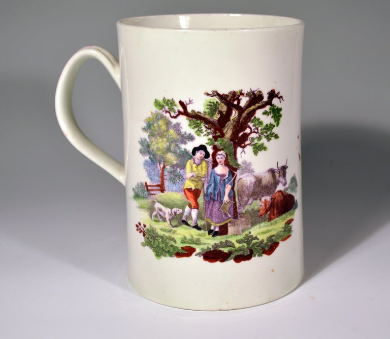 First Period Worcester polychrome porcelain tankard decorated with the milking scene (No.1) and rural lovers on the reverse,