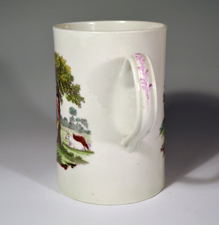 Georgian First Period Worcester Polychrome Porcelain Tankard, circa 1768 For Sale