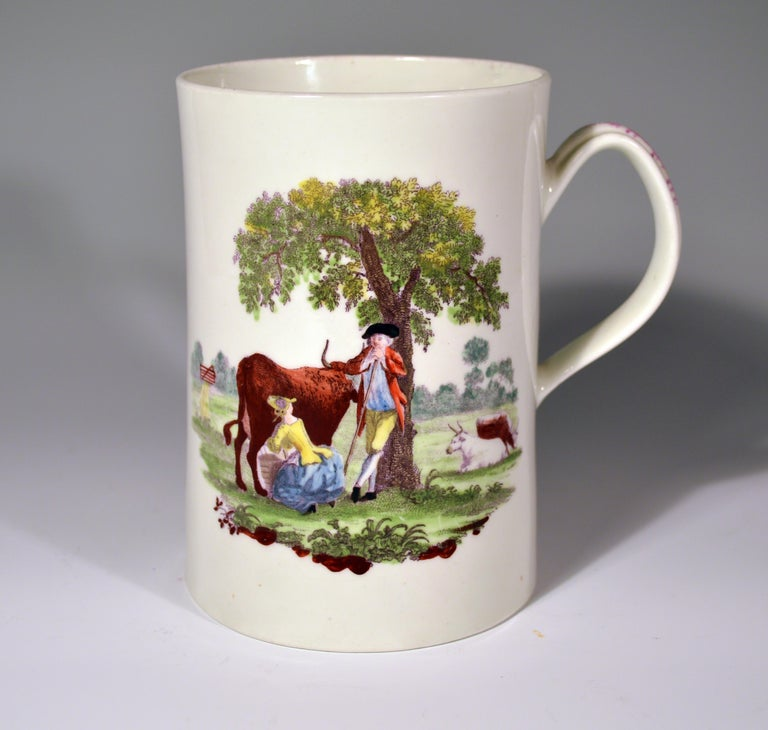 English First Period Worcester Polychrome Porcelain Tankard, circa 1768 For Sale