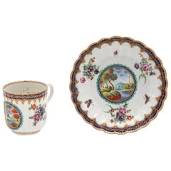 First Period Worcester Porcelain Coffee Can and Saucer, circa 1772-1775