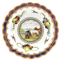 First Period Worcester Porcelain Fable Plate, Lord Henry Thynne Pattern