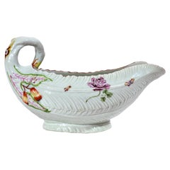 First Period Worcester Porcelain Leaf Molded Sauce Boat, Circa 1755-56