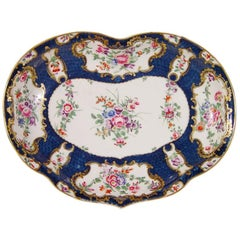 First Period Worcester Porcelain Rococo Botanical Blue-Scale Dish