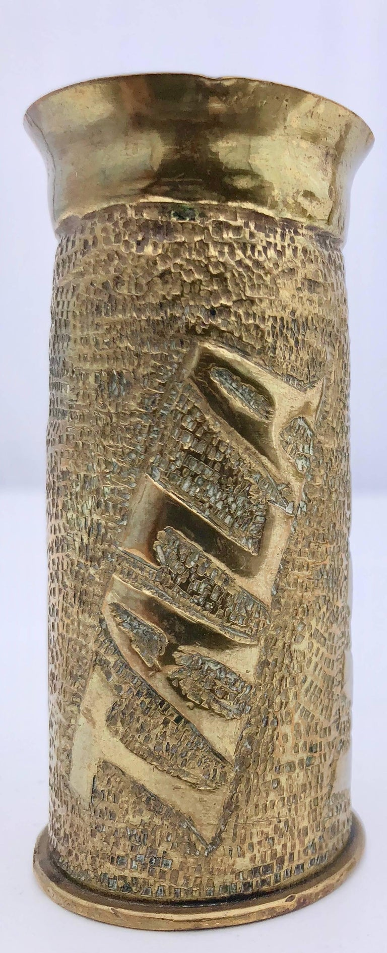 First World War French Trench Art Two Carved Brass Shells