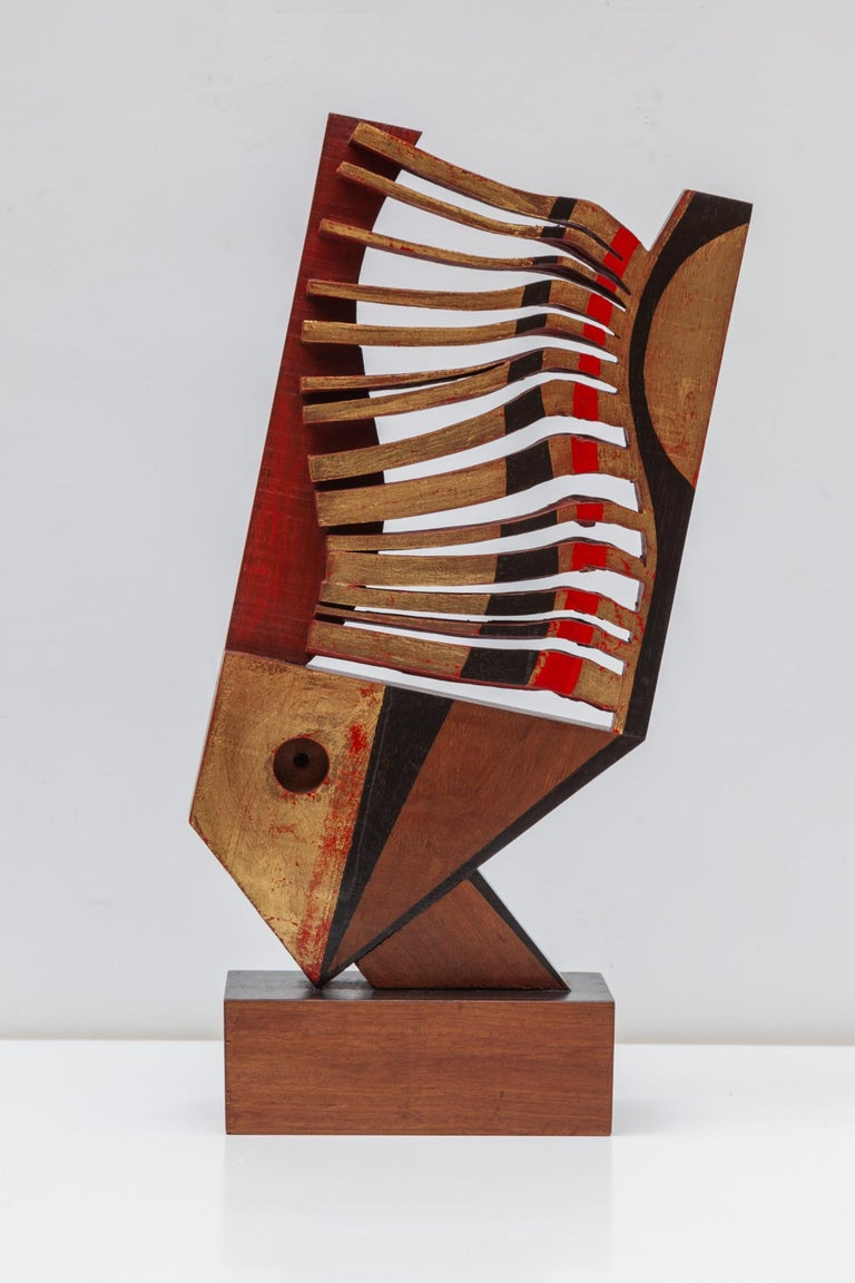 Wooden Fisch sculpture by the Artist Jhan Paulussen, Belgium, 1960s. Signed JH. Modernist dynamic wave design in red, black and gold.