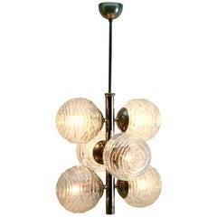 Fischer Leuchten 'Germany' Swirl Ball Pendant Stem Lamp with 6 Globular Lights