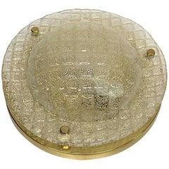 Fischer Leuchten Textured Glass Flush Mount, German, 1960s