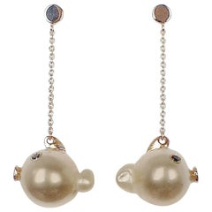 Fish Black Diamond Australian Oval Pearl 18K Gold Drop Dangle Earrings