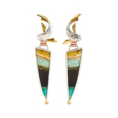 Fish Earrings with Opalized Wood Stones, Gold and Silver