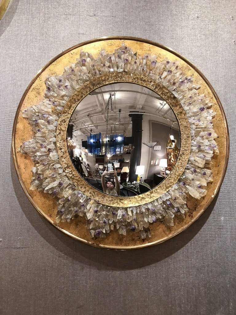 Fish Eye Mirror With Quartz Crystals And Hammered Brass