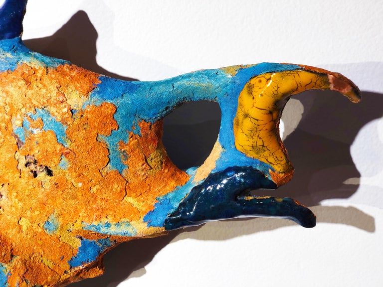 German Fish II, Handmade Ceramic and Paper-Clay Wall Sculpture with Blue and Orange For Sale