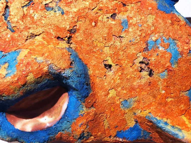 Fired Fish II, Handmade Ceramic and Paper-Clay Wall Sculpture with Blue and Orange For Sale