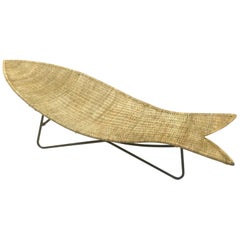 Fish Shaped Wicker Lounge Chair Attributed to Lina Zervudaki, 1940s