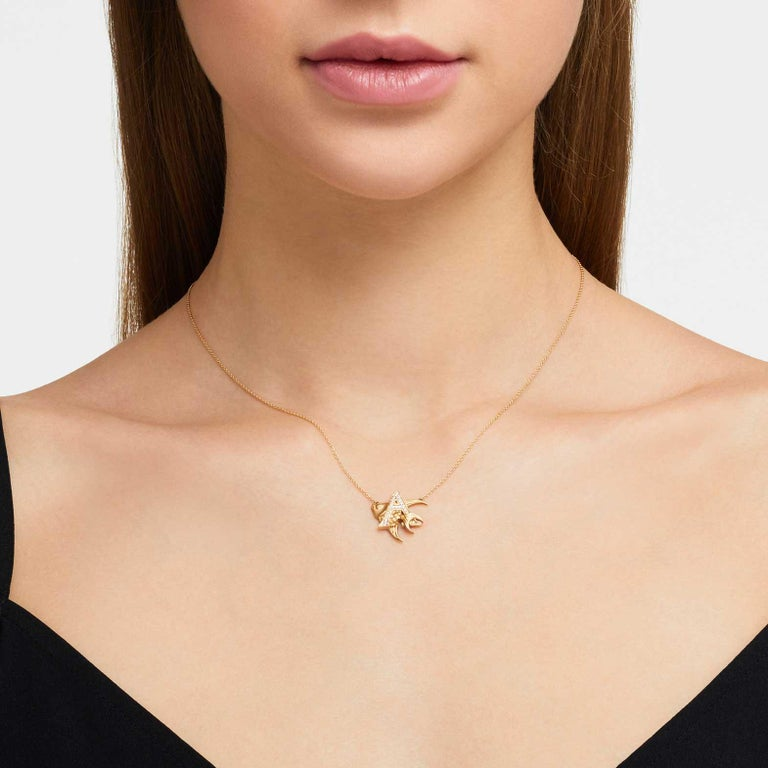 Modern Stephen Webster Fish Tales A is for Angelfish 18K Gold and Diamond Necklace