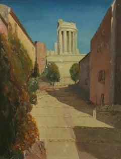 Antique Impressionist Landscape Street view of Roman Ruins 1940