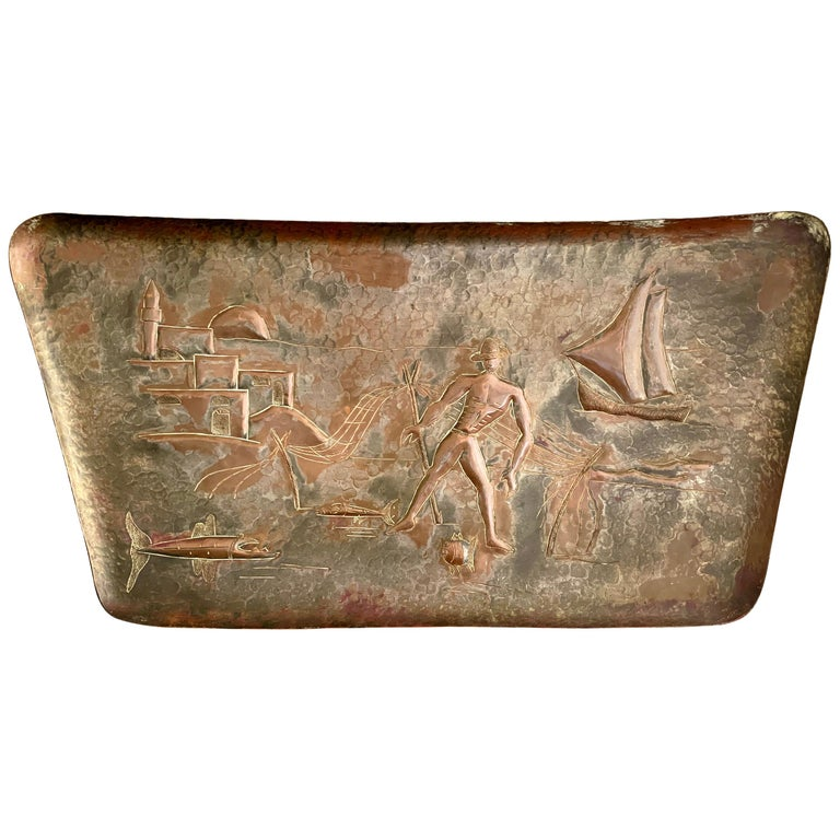 """""""Fisherman in Israel,"""" Brilliant Midcentury Copper Panel with Repoussé Scene For Sale"""