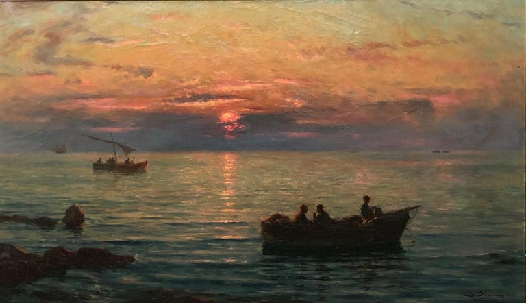 French 'Fishermen at Sunset' by Charles Louis Signoret For Sale