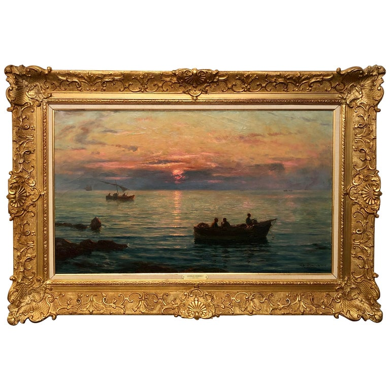 'Fishermen at Sunset' by Charles Louis Signoret For Sale