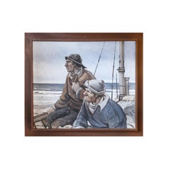 """Fishermen Overlooking Sea"", Framed Oil Painting"