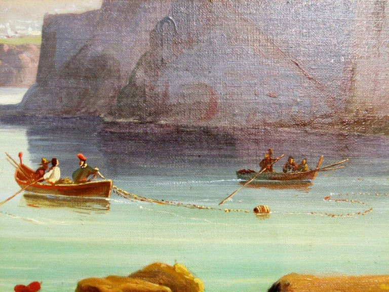 Italian 'Fishing Boats in the Bay of Naples at Sorrento' by Unknown, '19th Century' For Sale