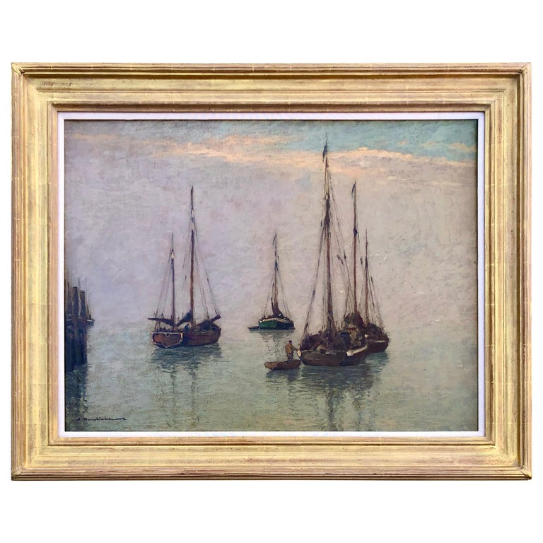 """Fishing Boats off the Coast"" by Wilhelm Hambuchen For Sale"