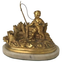 Fishing Boy Bronze D'ore Writing Desk Organizer, France, 19th Century