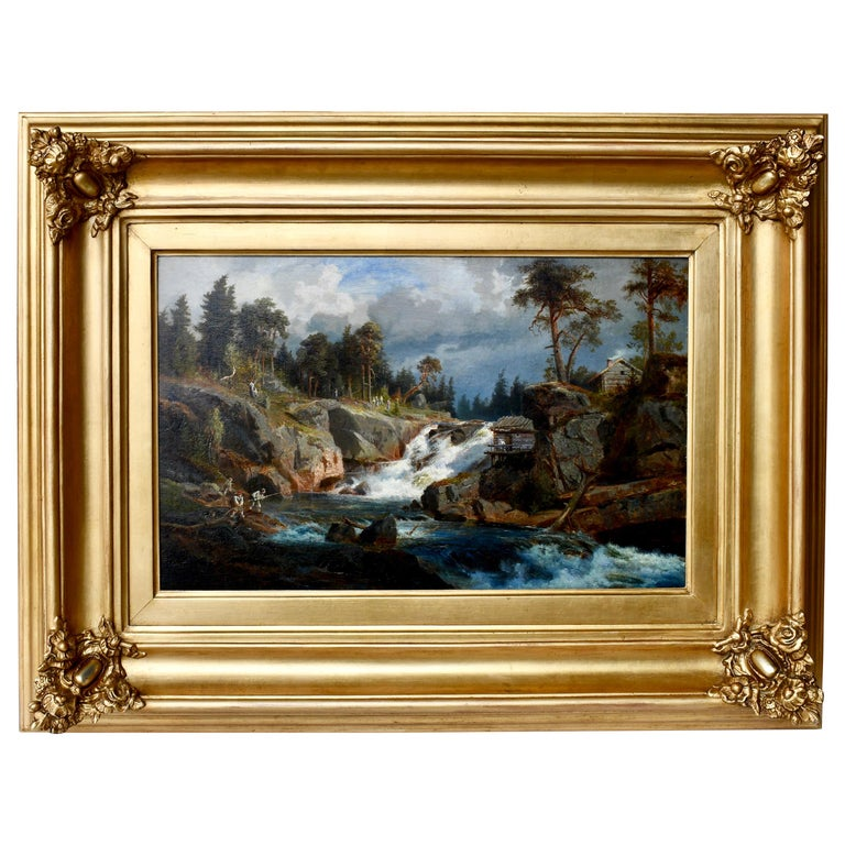 """""""Fishing in the Rapids"""" by Gustaf Fredrik Rydberg For Sale"""