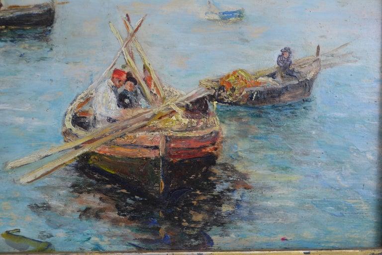 Italian Fishing off the Coast of Naples by Landscape Artist Attilio Pratella For Sale