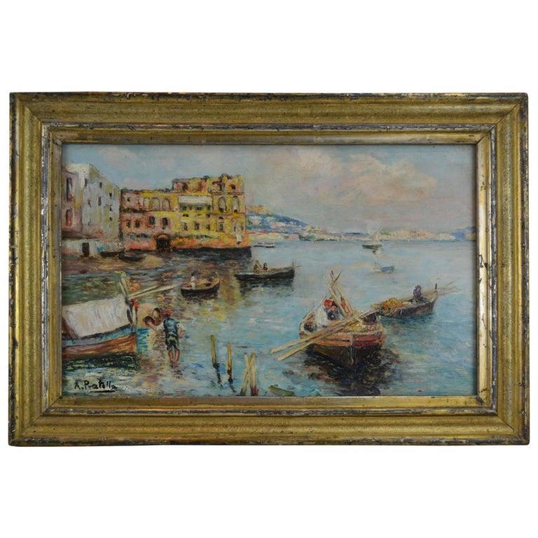Fishing off the Coast of Naples by Landscape Artist Attilio Pratella For Sale