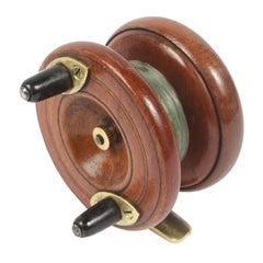 Fishing Reel Made of Turned Oak and Brass, UK, Early 1900s