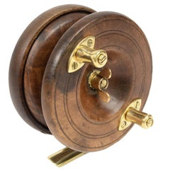 Antique Fishing Reel Made of Turned Oak and Brass, UK, Early 1900s
