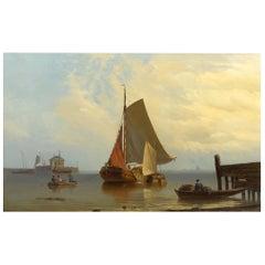"""Fishing Vessels Along Shore"" '1871' Dutch School Antique Painting"
