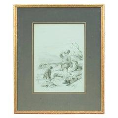 "Fishing Watercolour, ""Got Him"" By F.P. Hopkins, 'Shortspoon'"