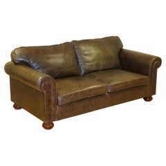 Fishpools Heritage Leather 2 Seater Sofa with Duck Feather Filled Back Cushions