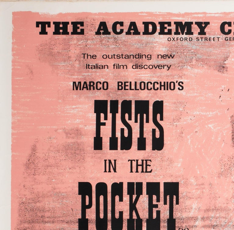 British Fists in the Pocket 1966 Academy Cinema UK Quad Film Movie Poster, Strausfeld For Sale