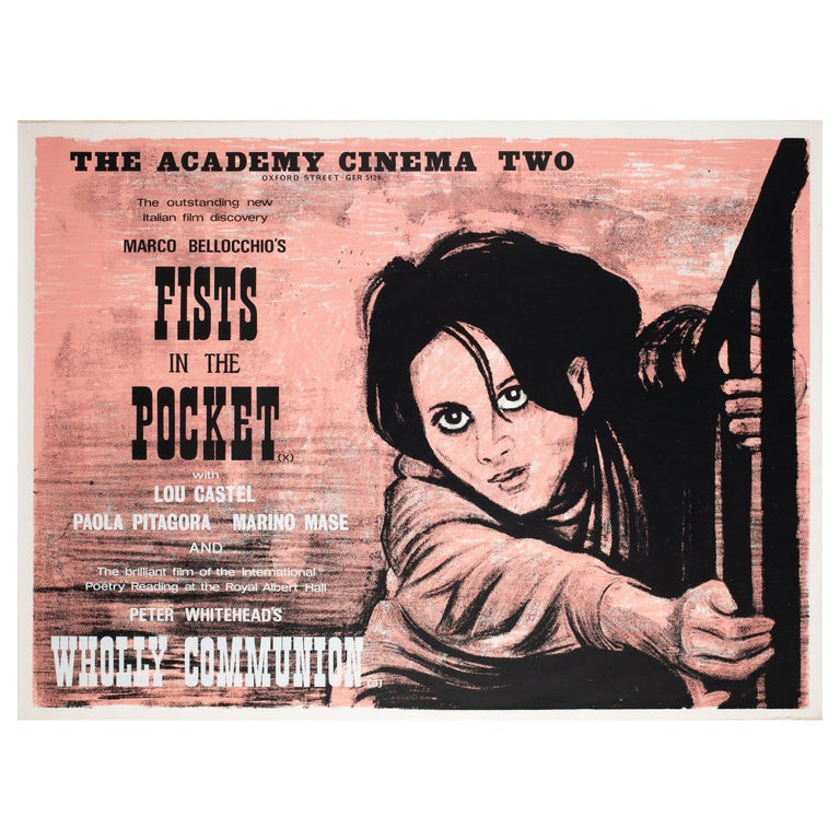 Fists in the Pocket 1966 Academy Cinema UK Quad Film Movie Poster, Strausfeld For Sale