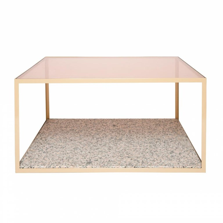 Fitted Coffee Table in Blush Glass and Pink Composition For Sale