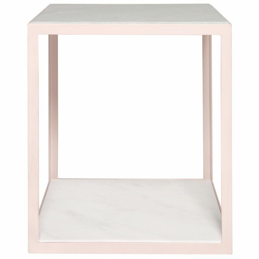 Fitted Side Table in Petal Pink and Arabescato Marble