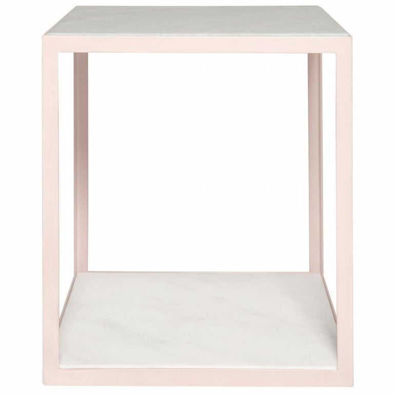 Fitted Side Table in Petal Pink and Arabescato Marble For Sale