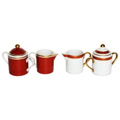 """Fitz and Floyd Inc. """"Bordure and Rouge"""" and MCMLXXVI Tea set"""