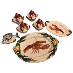 Fitz and Floyd Lobster Fish Platters Server Soup Bowls 7 Piece Palm Beach