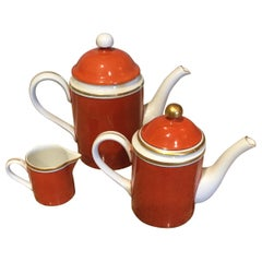 Fitz and Floyd Medaillon d'Or Coffee and Tea Pots with Creamer, 1979